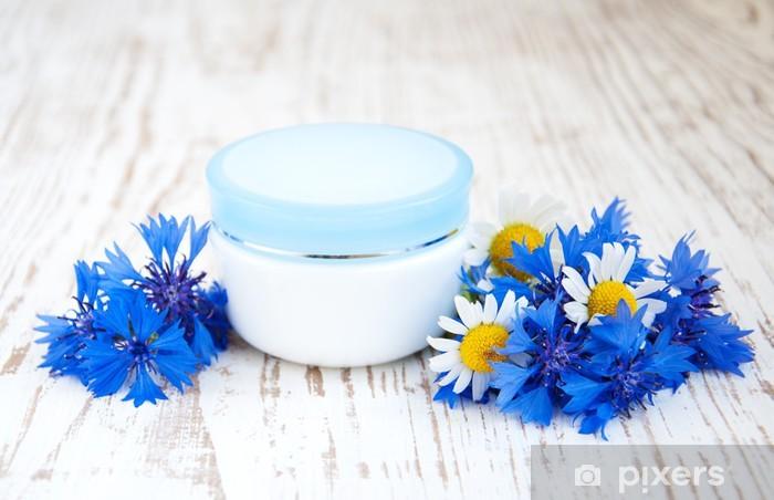 Sticker Pixerstick Récipient avec de la crème et bleuets - Bleuets