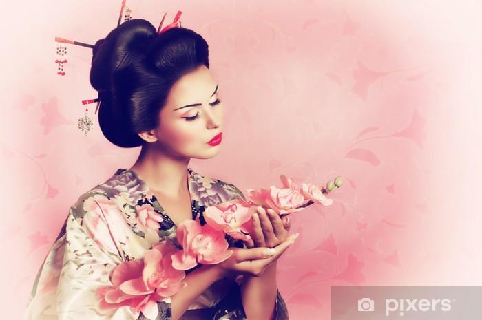 Papier peint vinyle Portrait d'une femme de geisha japonaise - Pour salon de coiffure