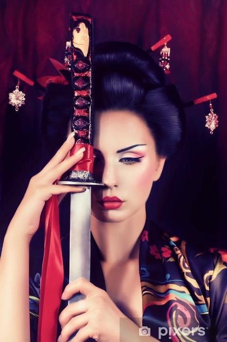 Pixerstick Sticker Mooie geisha in kimono met samurai zwaard - Thema's