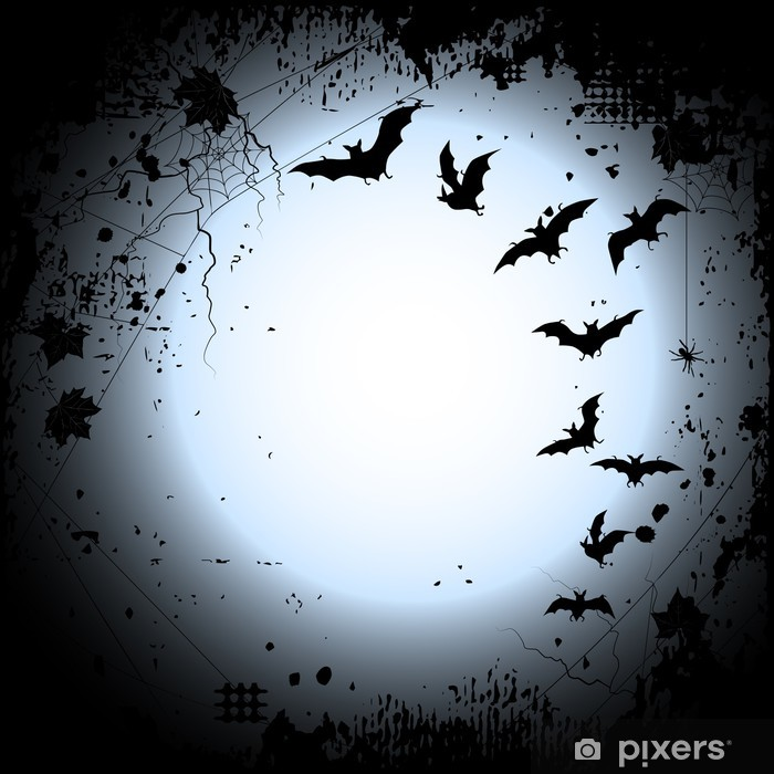 Halloween Background With A Full Moon And Bats Poster