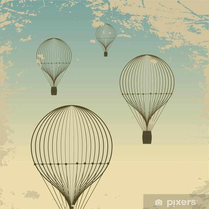 Naklejka Pixerstick Tło retro balonem niebo stare tekstury papieru. Rocznik wina - Style