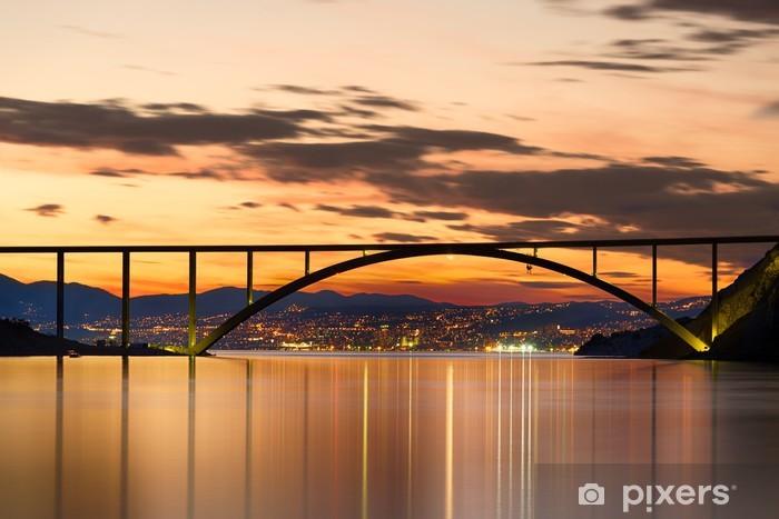 Bridge to Krk Island at sunset, Croatia Pixerstick Sticker - On the Road