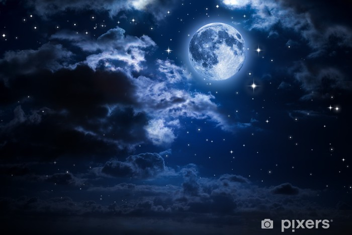 moon and clouds in the night Vinyl Wall Mural - Moon