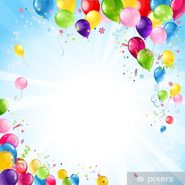 Vinilo Pixerstick Fondo feliz cumpleaños con globos - Celebraciones