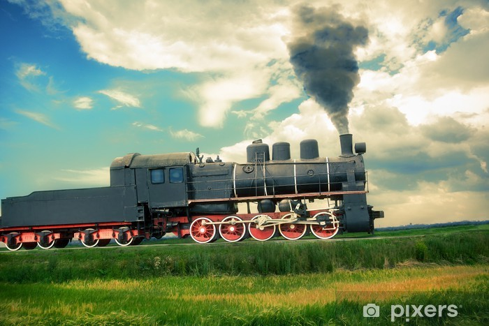 Naklejka Pixerstick Vintage pociąg parowy - Tematy