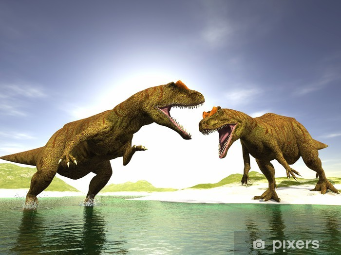 Naklejka Pixerstick Dwa dinozaury - Tematy