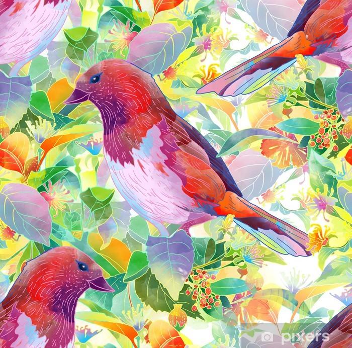 Pixerstick Sticker Vogel, bessen, bloemen en bladeren - Thema's