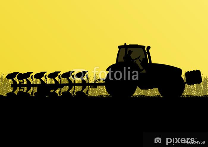 Fototapeta winylowa Ciągnik rolniczy oranie ziemi w kraju uprawiane zboża - Inne uczucia