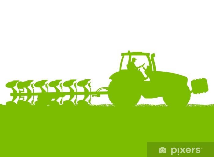 Nálepka Pixerstick Zemědělství traktor orat půdu v kultivované zemi obilí - Jiné pocity