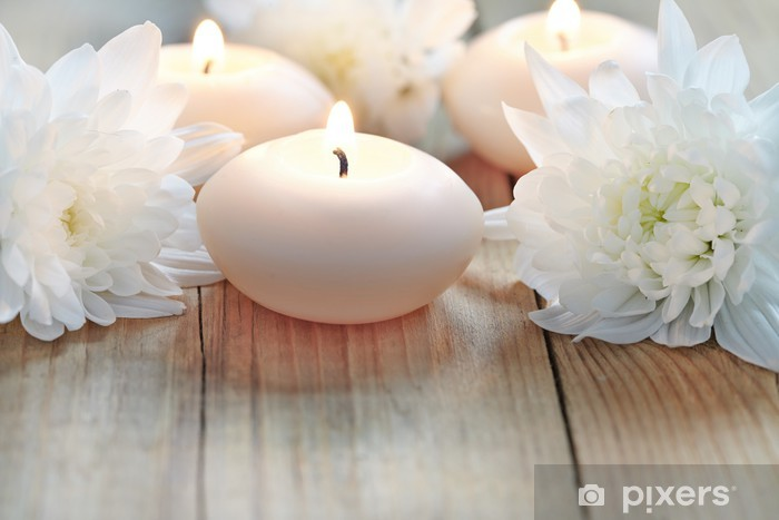 Candles and flowers Pixerstick Sticker - Home and Garden