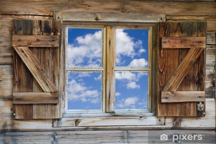 Naklejka Pixerstick Okno chaty w Południowym Tyrolu z Nieba - Tematy