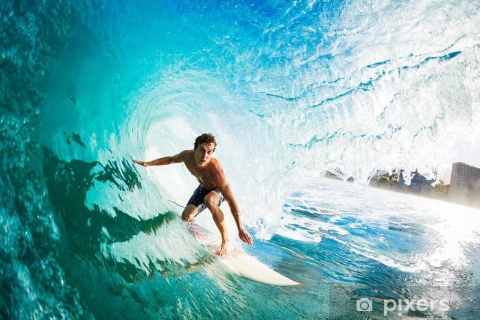 Fototapeta zmywalna Surfer na fali Blue Ocean w metrze dojazd lufę - Tematy