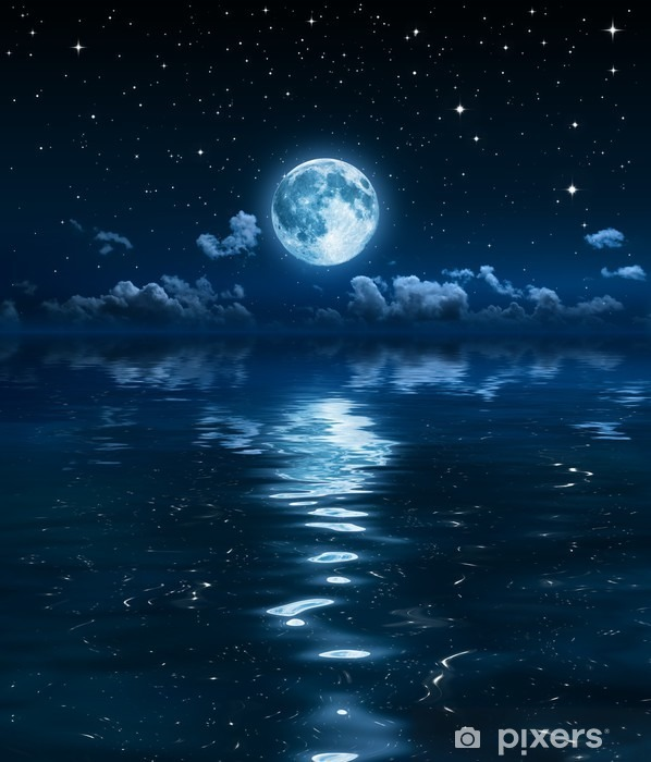super moon and clouds in the night on sea Vinyl Wall Mural -