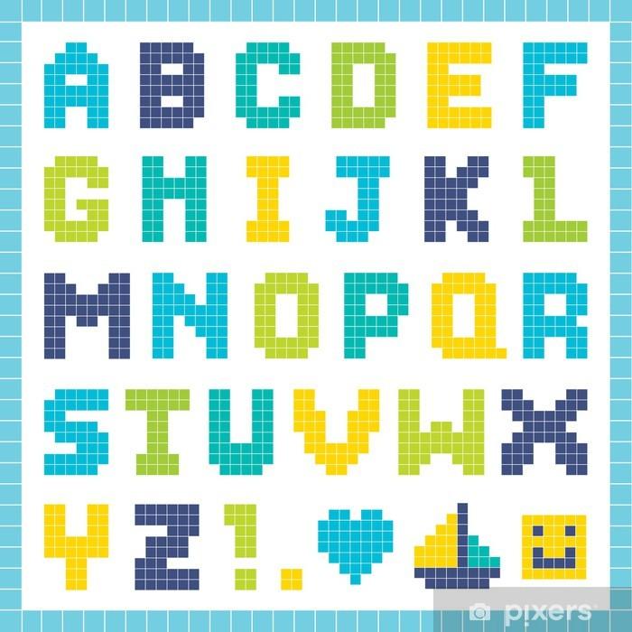 Pixel alphabet in blue and green Wall Mural - Vinyl