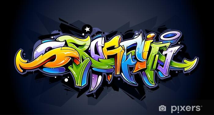 Papier peint vinyle Lettrage de graffiti lumineux - Thèmes