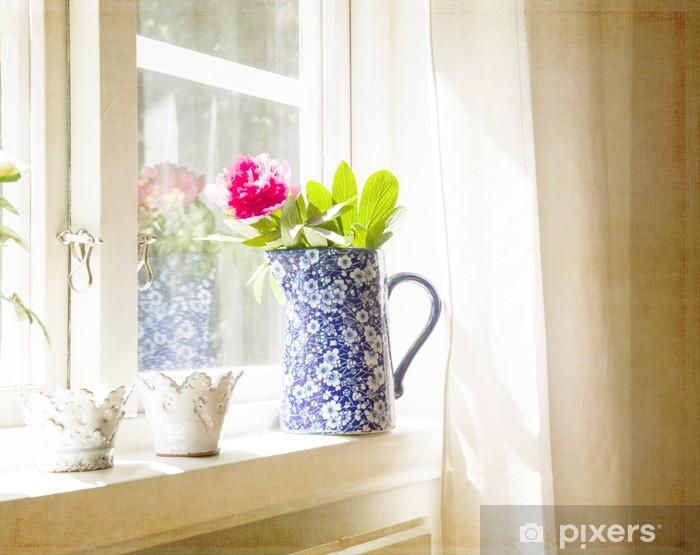Carta da parati all 39 interno della finestra con vaso e for Finestra con fiori disegno