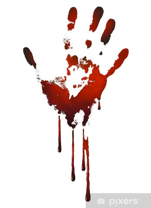 Pixerstick Sticker Bloederige handafdruk -