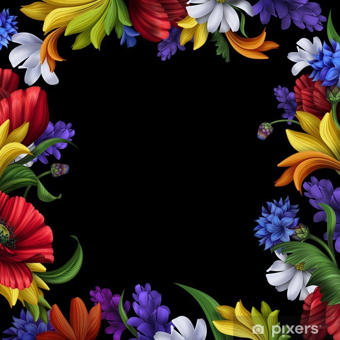 Fotomural Estándar Marco de flores sobre fondo negro - Estilos