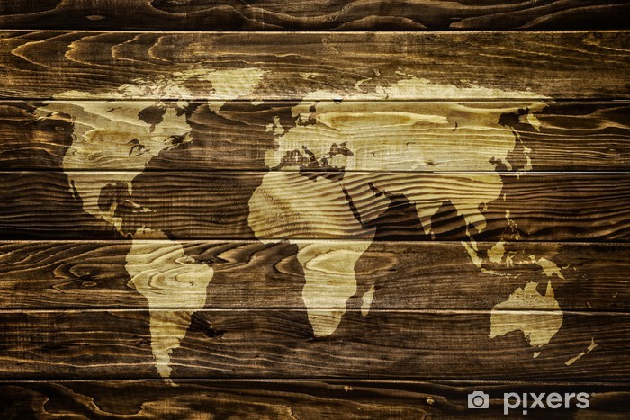 World map on wood background Vinyl Wall Mural -