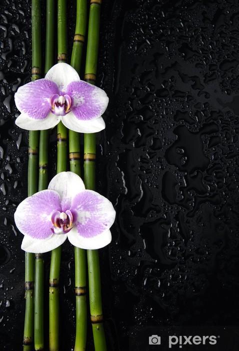 Pixerstick Sticker Mooie twee orchidee op dunne bamboebos - Schoonheid en Lichaamsverzorging
