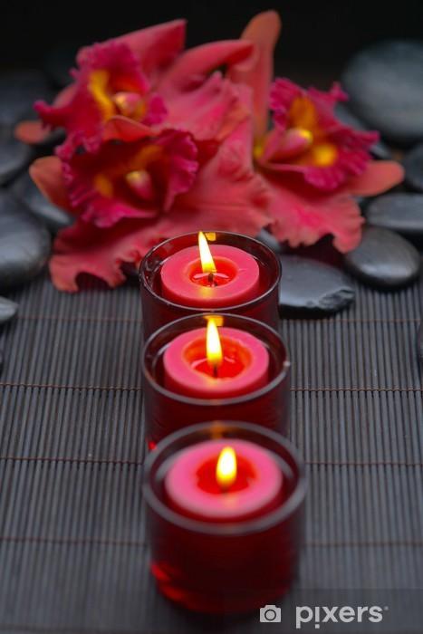 Punainen orkidea rivi kynttilän ja zen kiviä matolla Pixerstick tarra - Kehonhoito Ja Kaunes
