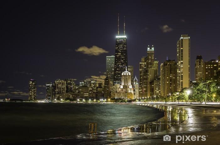 Naklejka Pixerstick Downtown Chicago w nocy - Ameryka