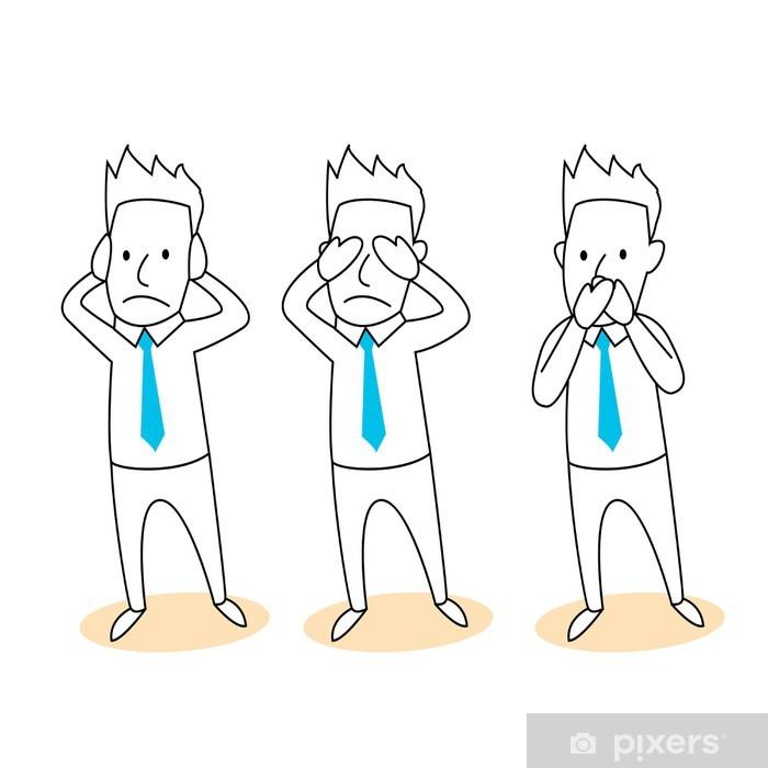 Pixerstick Sticker Horen, zien, zwijgen cartoon - Achtergrond