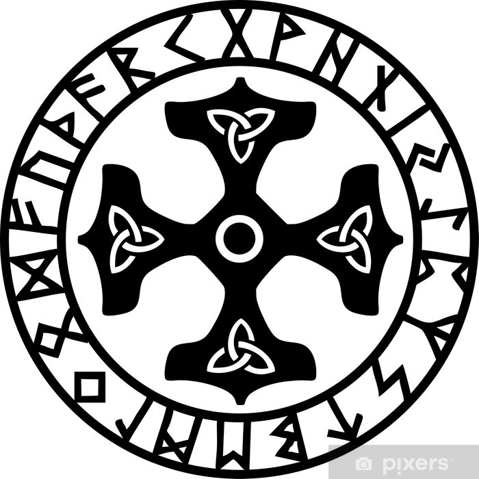 Naklejka Pixerstick Thors Hammer, Runen Kreis - Ezoteryka