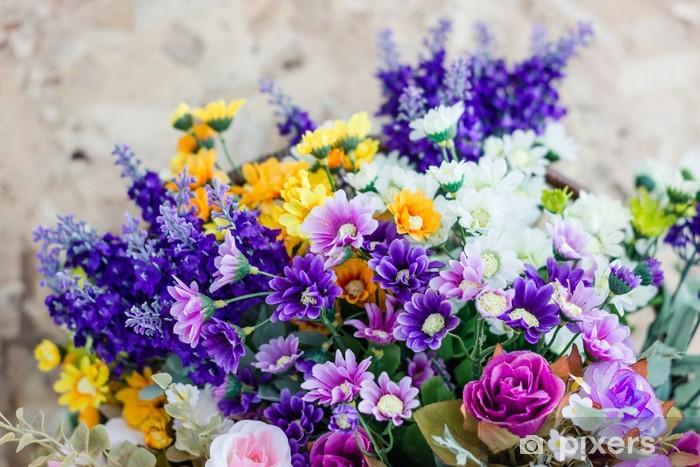 Papier peint vinyle Bouquets colorés - Fleurs