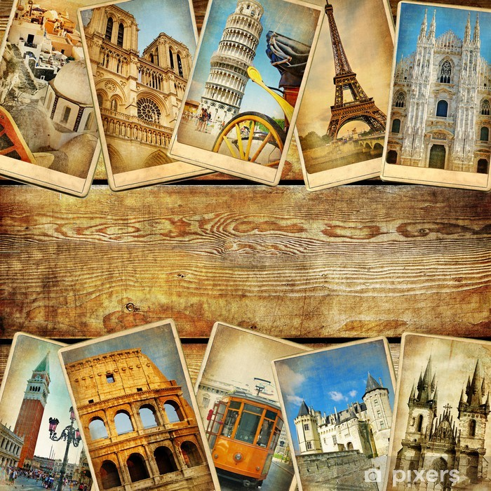 Vintage Collage Cards With Place For Text European Travel Wall Mural Pixers We Live To Change