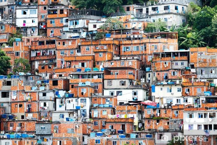 Vinyl Fotobehang Favela, Braziliaanse sloppenwijk in Rio de Janeiro - Brazilië