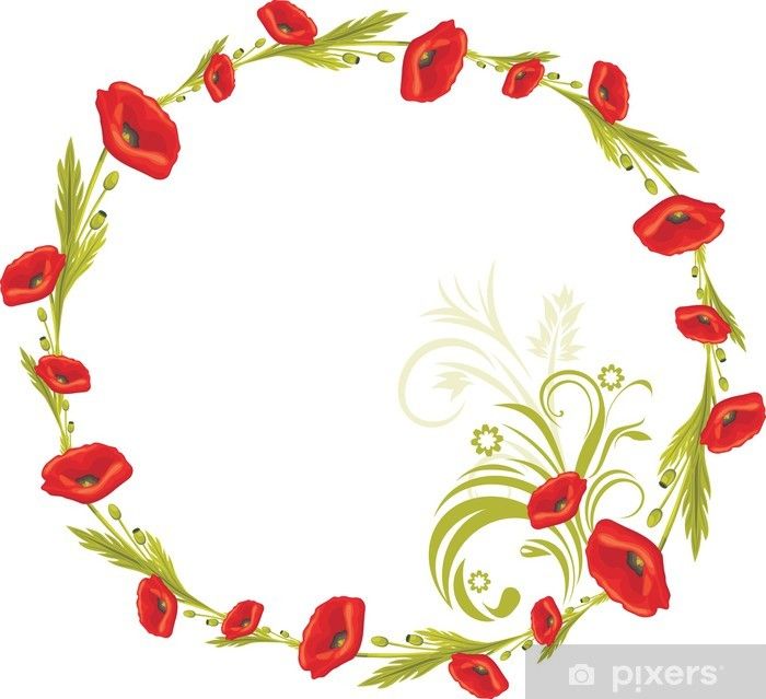 Wreath with red poppies Poster - National Events