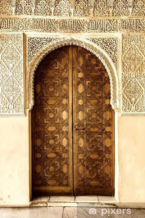 Sticker Pixerstick Une porte décorée dans un style arabe dans l'Alhambra, Grenade, Espagne. - Art et création