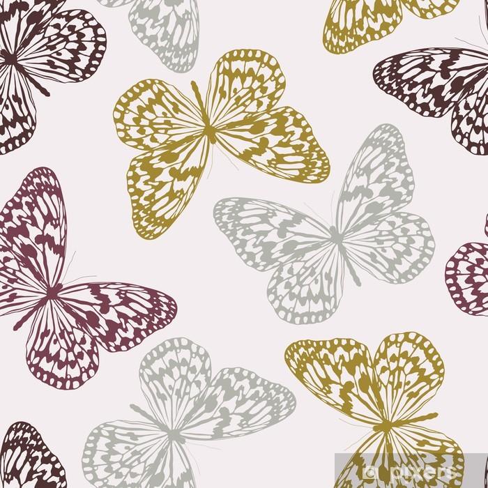 b97f1df417 Carta da Parati in Vinile Vector Seamless Pattern con farfalle colorate