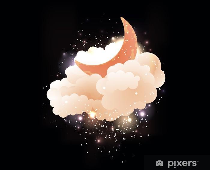 Fototapeta winylowa Księżyc, chmury i gwiazdy. Słodkie tapety marzenia. - Inne uczucia