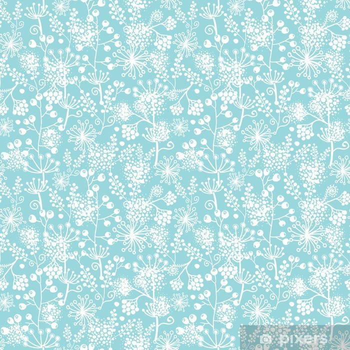 Vector blue and white lace garden plants seamless pattern Poster - Textures