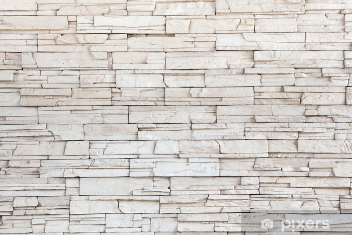 Fotomural Estándar White Stone Tile Texture la pared de ladrillo - Temas