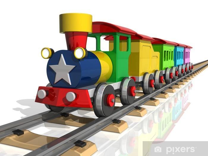 Vinyl Fotobehang Speelgoed trein met veelkleurige rijtuigen. 3d render - Spoorwegen