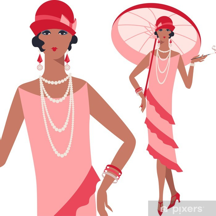 Retro young beautiful girl of 1920s style. Poster - Fashion
