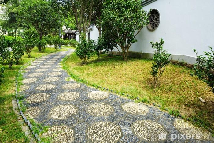 Papier peint Chemin de galets de pierre dans le jardin chinois ...