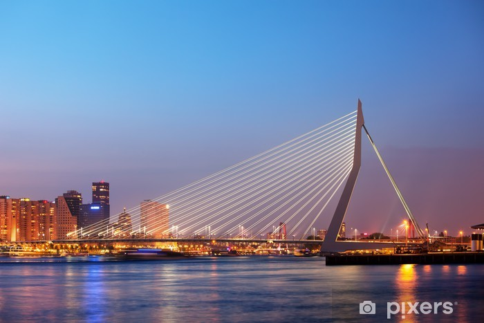 Erasmus Bridge in Rotterdam at Twilight Pixerstick Sticker - Themes