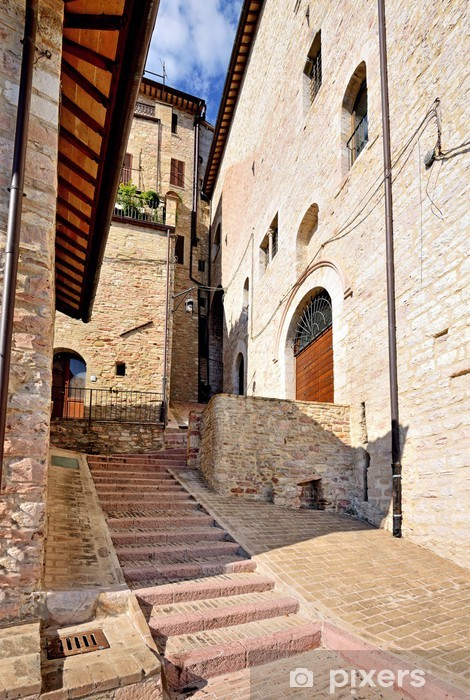 Papier peint vinyle Ruelle de la vieille ville, Assise, en Ombrie, Italie - Europe