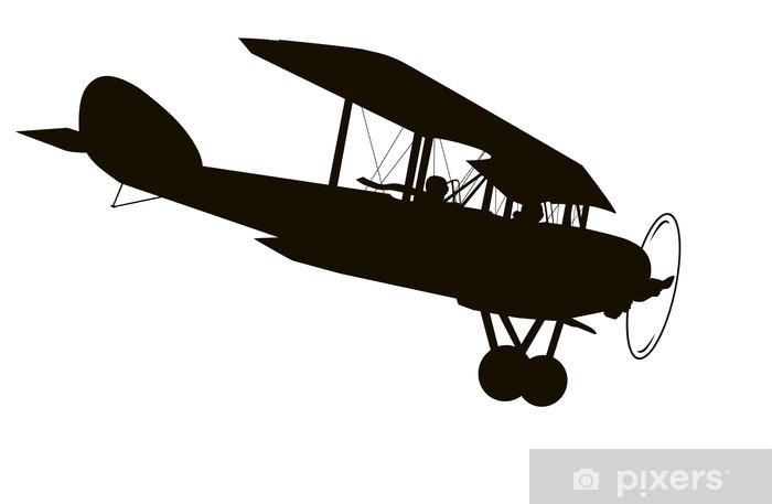 Vintage airplane  Vector silhouette Sticker - Pixerstick