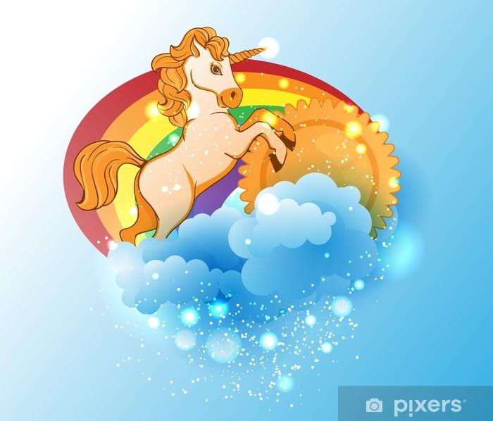Tegneserie enhjørning, sol, regnbue og skyer Garderobe klistermærke -