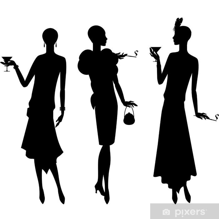 Sticker Pixerstick Silhouettes de beau style des années 1920 de la jeune fille. - Femmes