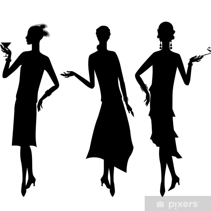 Silhouettes of beautiful girl 1920s style. Poster - Women