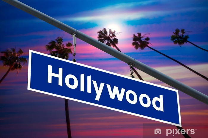 Hollywood California road sign on redlight with pam trees photo Pixerstick Sticker - American Cities