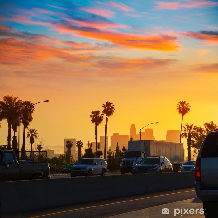 Sticker Pixerstick LA Los Angeles horizon coucher de soleil avec la circulation en Californie - Thèmes