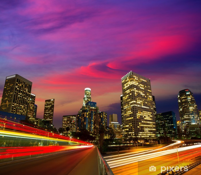 Poster Downtown LA Los Angeles Nacht sunset Skyline Kalifornien - Themen