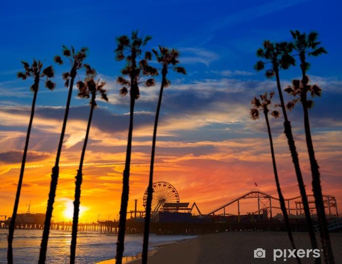 Sticker Pixerstick Santa Monica en Californie coucher de soleil sur la roue Ferrys Pier - Palmiers